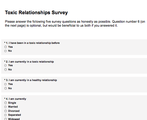Toxic Relationships Survey